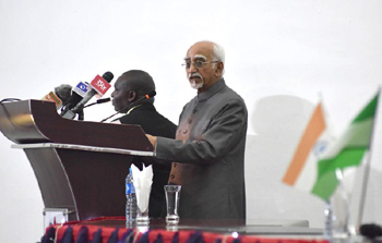 The Vice President, Shri M. Hamid Ansari addressing at the National Defence College, in Abuja, Nigeria on September 28, 2016.